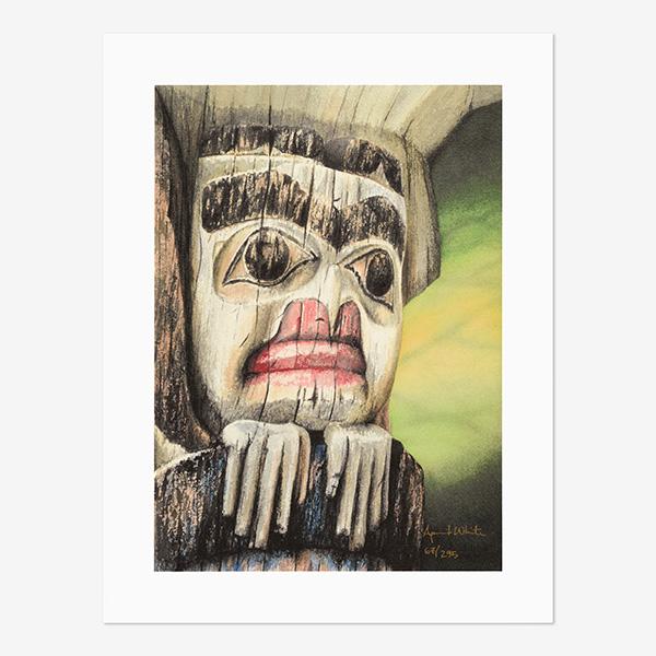 Totem Pole Print by Northwest Coast Native Artist April White
