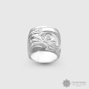 Engraved Sterling Silver Thunderbird Spirit Bead by Northwest Coast Native Artist John Lancaster
