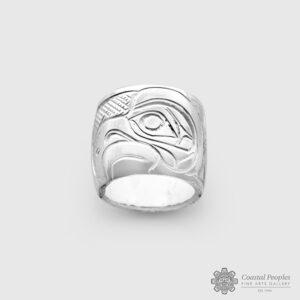 Engraved Sterling Silver Eagle Spirit Bead by Northwest Coast Native Artist John Lancaster