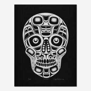 Silver Skull Print by Northwest Coast Native Artist Cory Moraes