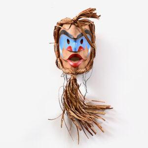 Wood and Bark Carpenter Mask by Northwest Coast Native Artist Robert Saunders