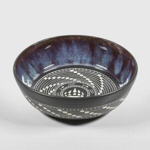 Porcelain Bear Fishing Bowl by Northwest Coast Native Artist Patrick Leach