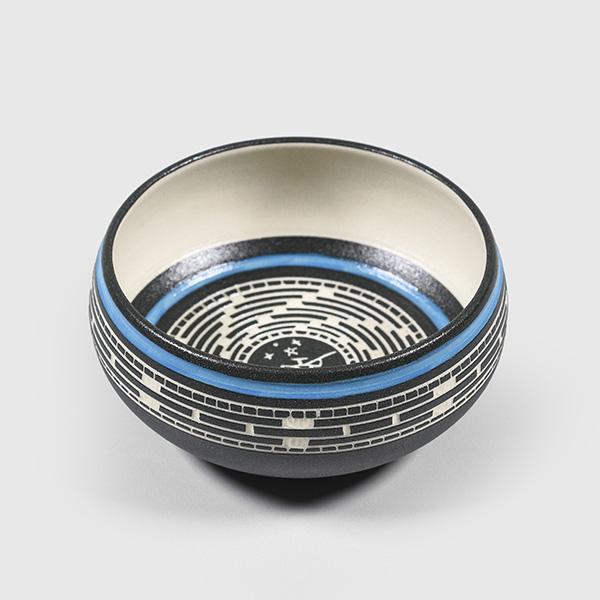 Porcelain Fisherman Bowl by Northwest Coast Native Artist Patrick Leach