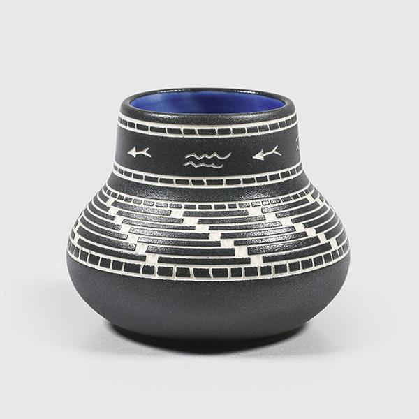 Porcelain River & Salmon Vase by Northwest Coast Native Artist Patrick Leach