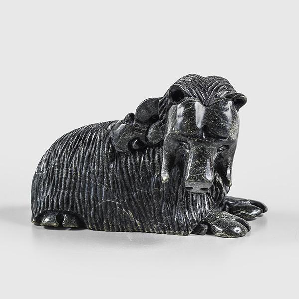 Serpentine Muskox Sculpture by Inuk Artist Kellipalik Etidloie