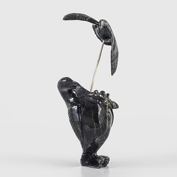 Serpentine Birds Sculpture by Inuk Artist Kellipalik Etidloie