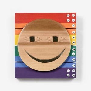 Smiley Face Cedar Panel by Northwest Coast Native Artist Corrine Hunt