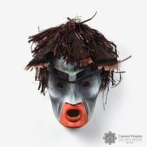 Wood, Hair , and Feather Ulthma-koke Mask by Northwest Coast Native Artist Joe David